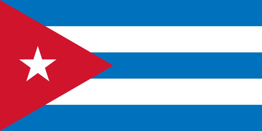 Флаг Кубы до изменения светло-голубых полос на более темный оттенок.