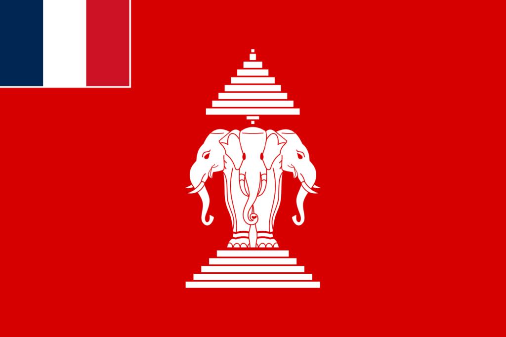 Флаг Лаоса как французской колонии (1893 — 1945 и 1946 — 1949)