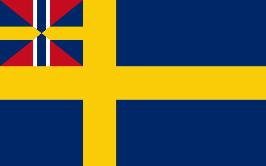Флаг Швеции со значком унии в левом верхнем углу, 1844—1905 гг.