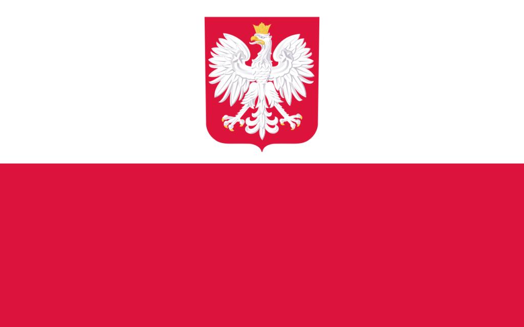 Вариант флага Польши с гербом