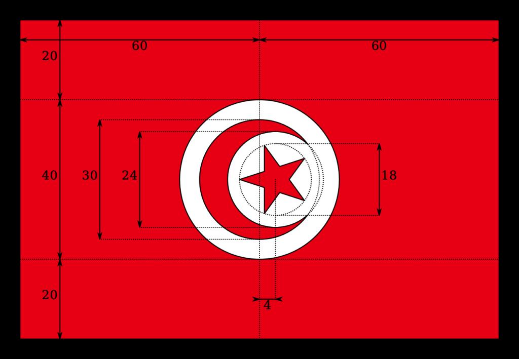 Чертёж современного флага Туниса (с 1999 года)