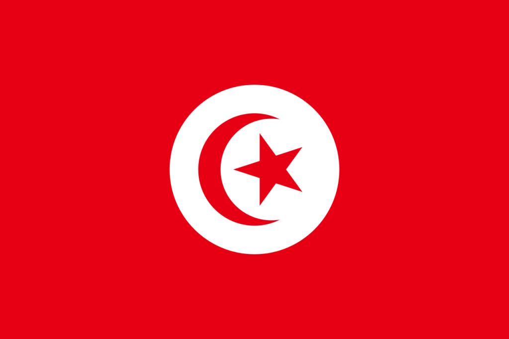 Флаг Туниса, использовавшийся до 1999 года (полумесяц имеет несколько иную форму, чем на современном флаге)